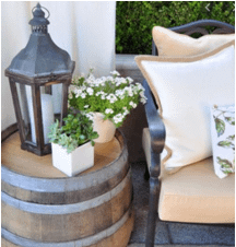 Lantern on a side table