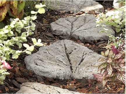 Stepping stones with leaf patterns