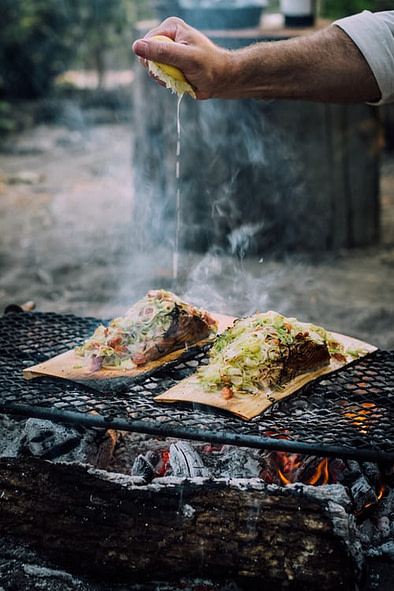 dish cooked on firepit