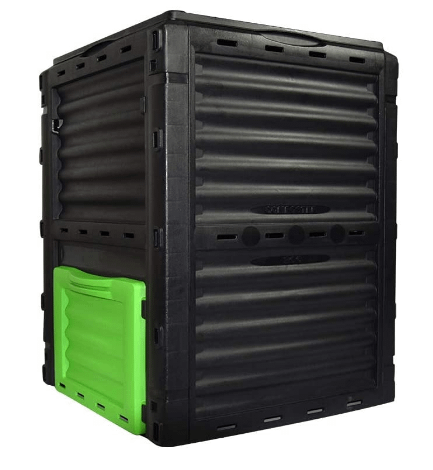 Black compost bin with green door