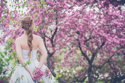 bride among trees