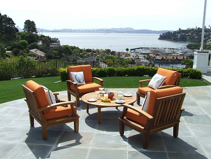 seating on a paved patio