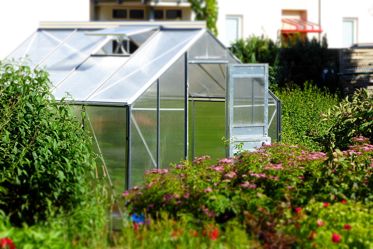 Greenhouse in a field