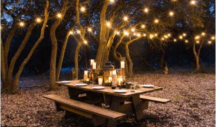 String lights in dining area
