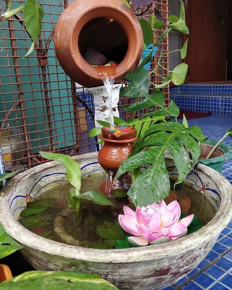 Fountain with lotus