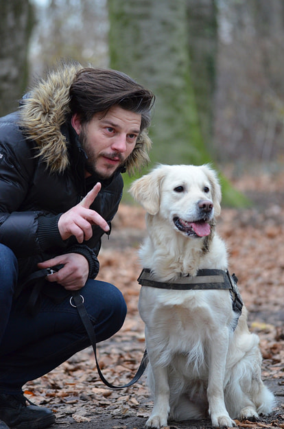 Dog with owner