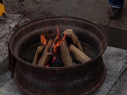 old truck wheel firepit