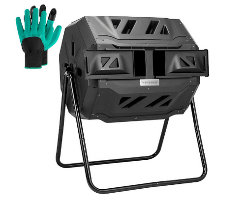 Compost bin with stand and gloves