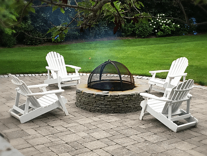 metal and stone firepit