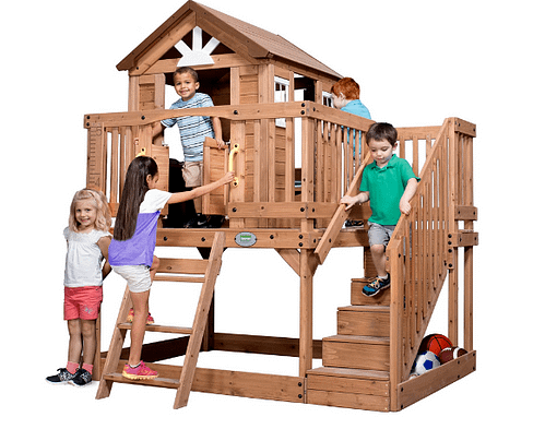 kids in a playhouse