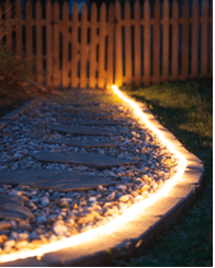 String lights on a pathway