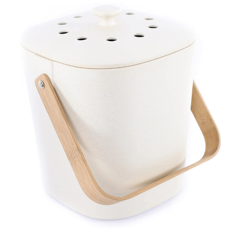 White compost bin with handle
