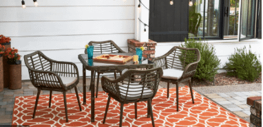 Backyard dining table and chairs