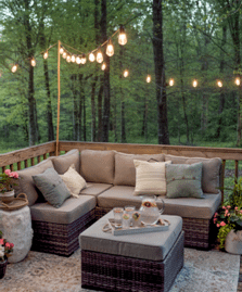 String lights over sitting space