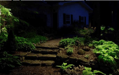Pathway lit by a spotlight