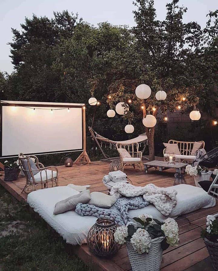 Private movie theatre in backyard