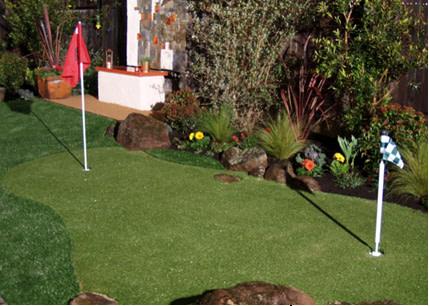 Mini golf course in backyard