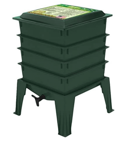 Green compost bin with stand