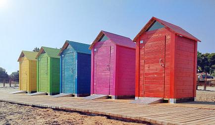Row of sheds on a beach