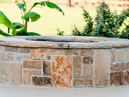 firepit with creative stacked wall
